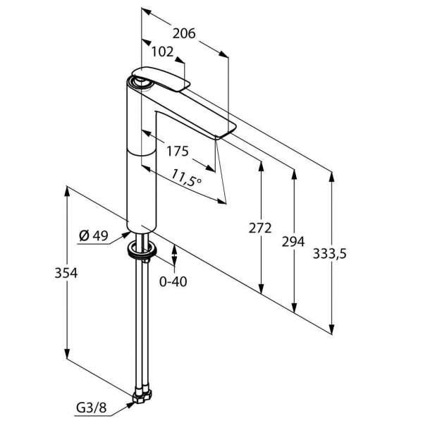 Wymiary techniczne wysokiej baterii umywalkowej Kludi Balance White 522989175-image_Kludi_522989175_3