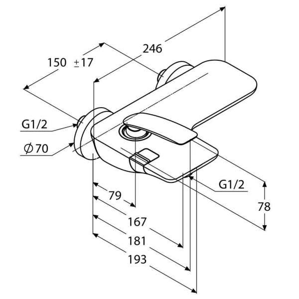 Wymiary techniczne chromowanej baterii wannowej Kludi Balance 524450575-image_Kludi_524450575 _3