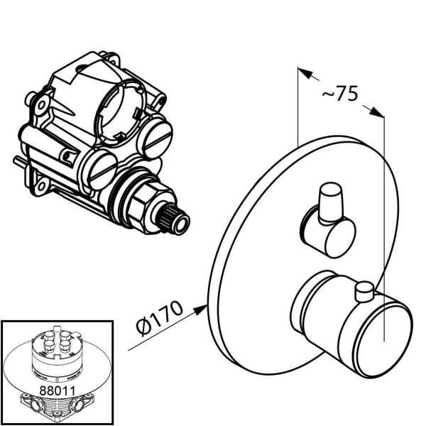 Wymiary termostatycznej baterii wannowej Kludi Balance 528309175 -image_Kludi_528309175_3