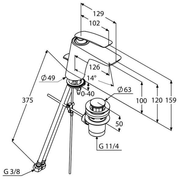 Wymiary techniczne białej baterii umywalkowej Kludi Balance 52 023 91 75-image_Kludi_520239175_4