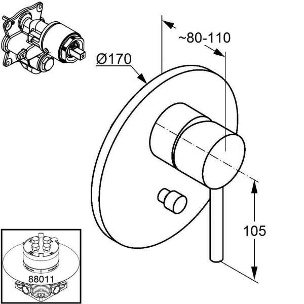 Wymiary techniczne baterii podtynkowej Kludi Bozz 386500576 do obsługi 2 odbiorników.-image_Kludi_386500576_4