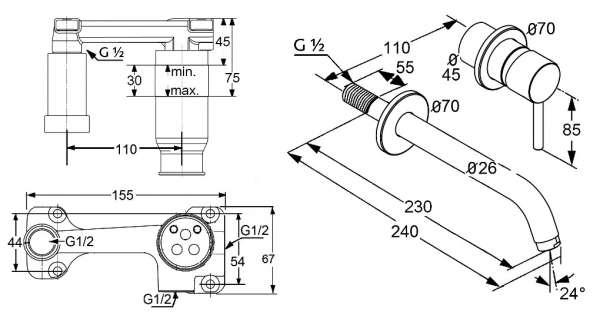 Wymiary techniczne zestawu baterii podtynkowej Bozz z długą wylewką-image_Kludi_KL/BOZZ/U230_3