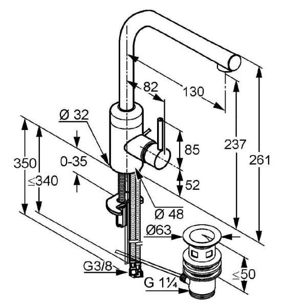 Wymiary baterii umywalkowej Kludi Bozz 382940576-image_Kludi_382940576_3