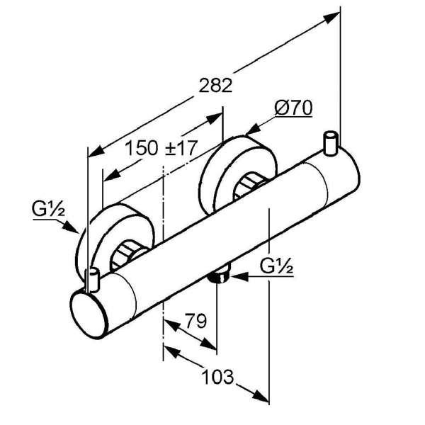 Wymiary techniczne ściennej termostatycznej baterii prysznicowej Kludi Bozz 352030538-image_Kludi_352030538_4