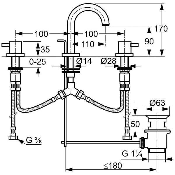 Wymiary techniczne 3-otworowej baterii umywalkowej Kludi Bozz 383910576 -image_Kludi_383910576_3