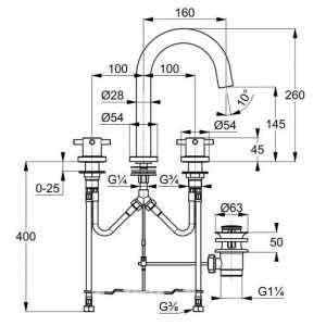 Wymiary baterii umywalkowej Kludi Bozz 383930520-image_Kludi_383930520_3