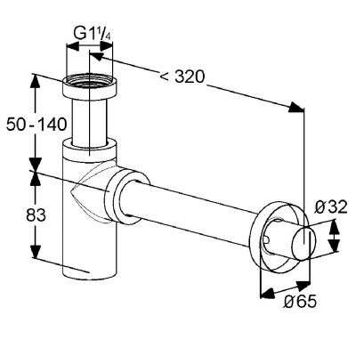 Wymiary techniczne syfonu 100200500-image_Kludi_100200500_2