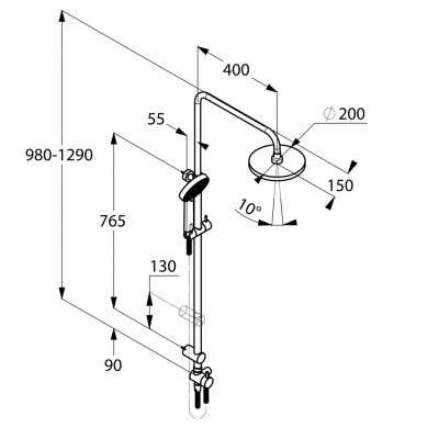 Wymiary techniczne kolumny prysznicowej Aqa -image_Kludi_6619205-00_2