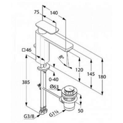Wymiary techniczne baterii umywalkowej Kludi E2 XXL 492950575-image_Kludi_492950575_3
