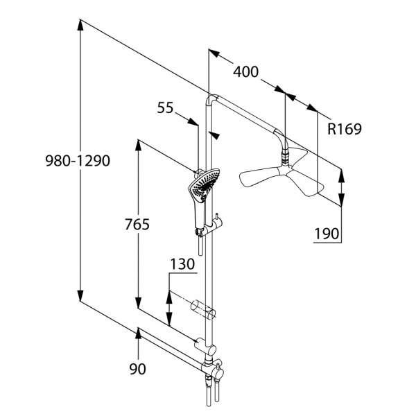 Wymiary techniczne zestawu prysznicowego Dual Shower 670930500-image_Kludi_670930500_3