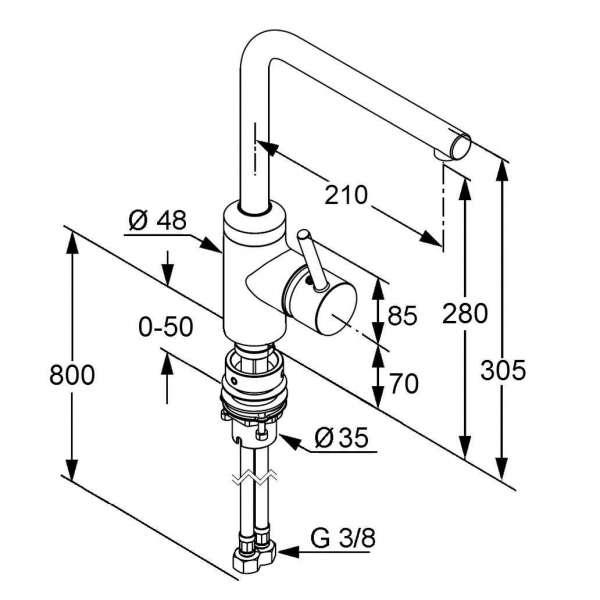 Wymiary techniczne baterii kuchennej zlewozmywakowej Kludi L-INE 428170577-image_Kludi_428170577_3