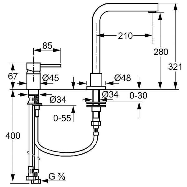 Wymiary techniczne baterii kuchennej zlewozmywakowej Kludi L-INE 428540577-image_Kludi_428540577_3