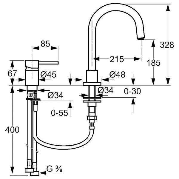 Wymiary techniczne baterii kuchennej zlewozmywakowej Kludi L-INE 428530577-image_Kludi_428530577_3
