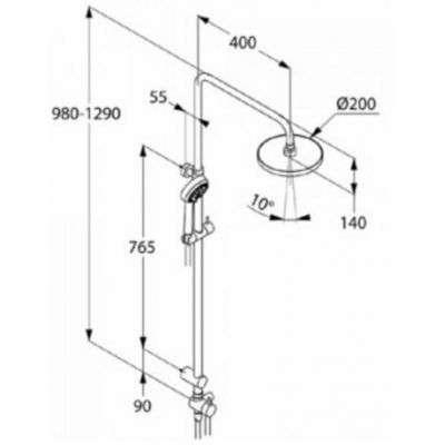 Rysunek techniczny system dual shower Logo 680910500-image_Kludi_680910500_3