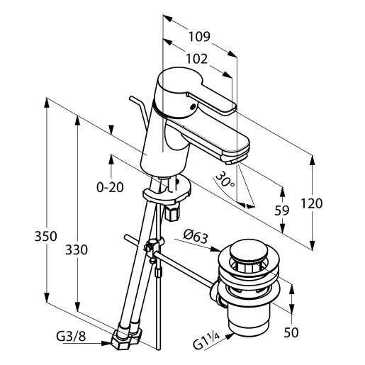 Rysunek techniczny baterii umywalkowej Kludi Logo Neo XS 372850575 -image_Kludi_372850575_3