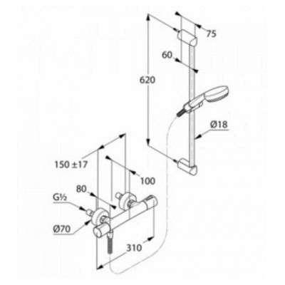 Wymiary techniczne termostatycznego kompletu prysznicowego-image_kludi_685760500_2