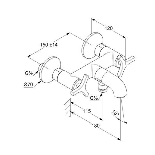 Wymiary techniczne armatury Kludi 205400539.-image_Kludi_205400539_1