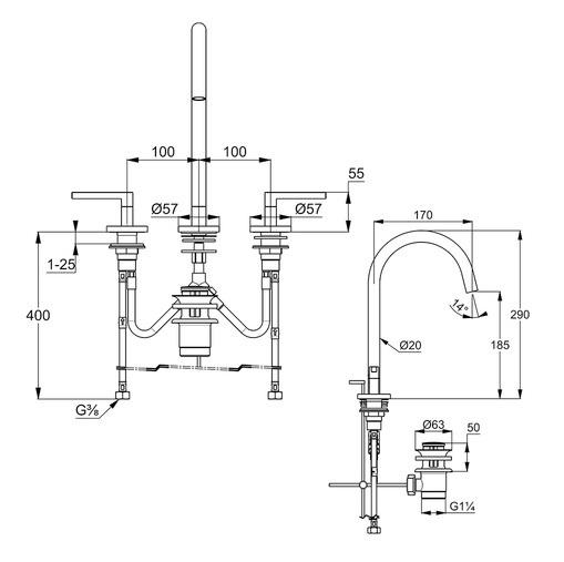 Wymiary techniczne baterii umywalkowej Kludi 201430515.-image_Kludi_201430515_1