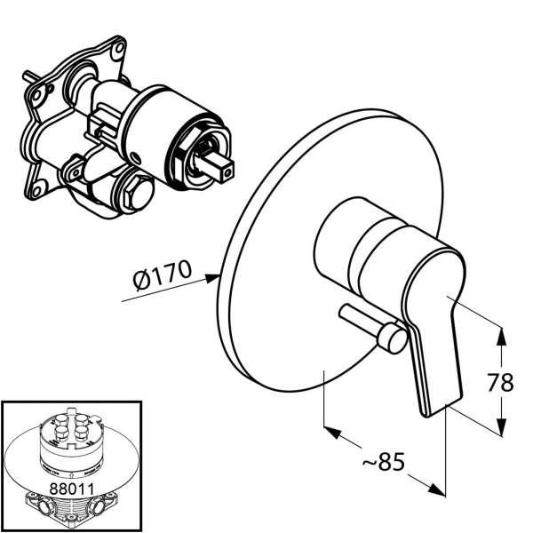 Wymiary techniczne baterii  wannowej Kludi O-cean 387500575-image_Kludi_387500575_4