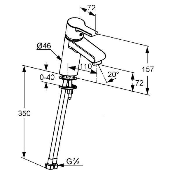Wymiary techniczne baterii umywalkowej Kludi O-cean 383510575 -image_Kludi_383510575_4
