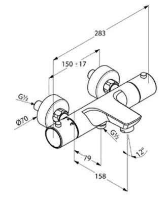 Rysunek techniczny baterii wannowej termostatycznej 352010538-image_Kludi_352010538_3