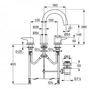 Rysunek techniczny baterii do umywalki Kludi Objekta 323930575-image_Kludi_323930575_2