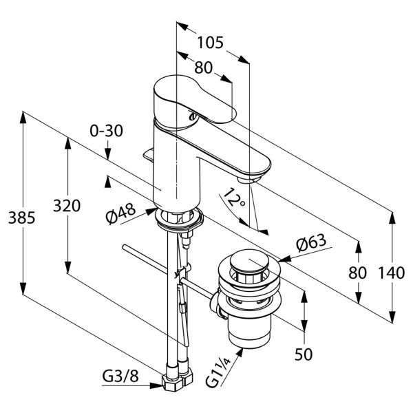 Rysunek techniczny baterii umywalkowej Kludi Objekta 322350575-image_Kludi_322350575_3