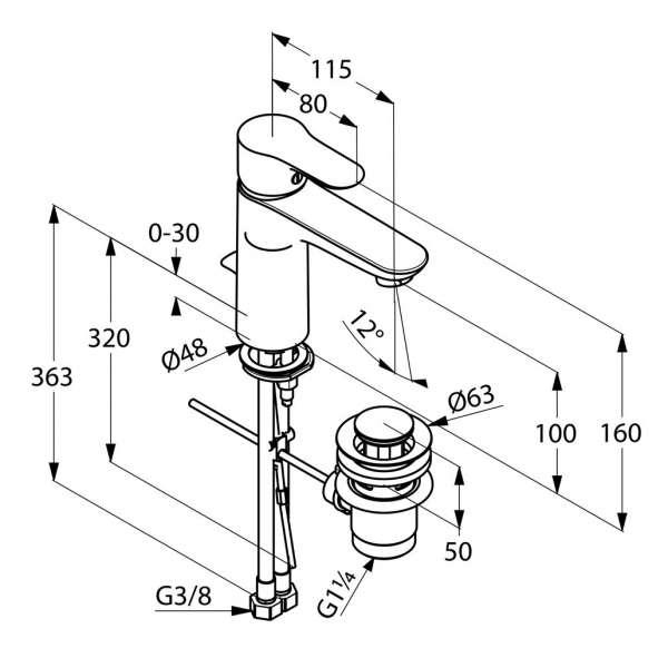 Wymiary techniczne baterii umywalkowej Kludi Objekta 322600575 -image_Kludi_322600575_3