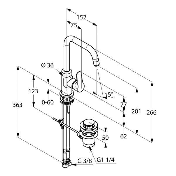 Rysunek techniczny baterii umywalkowej Kludi Objekta 320230575-image_Kludi_320230575_3