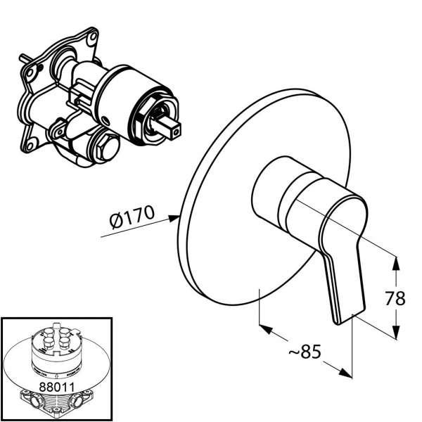 Wymiary techniczne baterii prysznicowej Kludi O-cean 387550575-image_Kludi_387550575_4