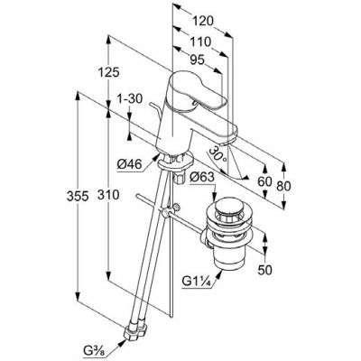 Wymiary techniczne Kludi Pure Easy 37 385 05 65-image_Kludi_3738500565_3