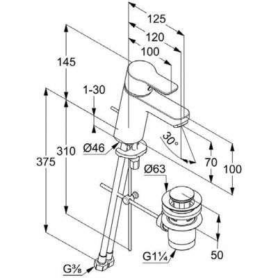 Wymiary techniczne baterii umywalkowej Pure Easy 372860565