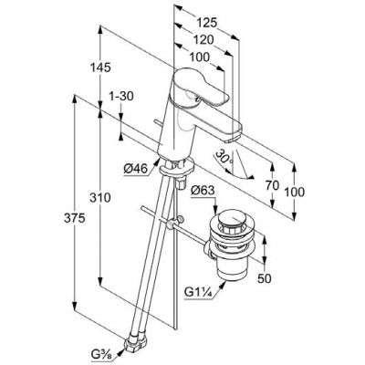 Wymiary techniczne baterii Pure Easy 373829165-image_Kludi_373829165_3