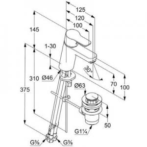 Wymiary techniczne kranu umywalkowego Kludi Pure&Easy 372760565-image_Kludi_372760565_2