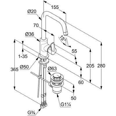 Rysunek techniczny baterii Kludi Pure Easy 370230565