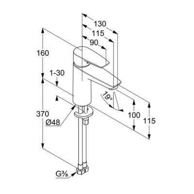 Wymiary techniczne baterii do umywalki Kludi Pure Solid 342920575-image_Kludi_342920575_3