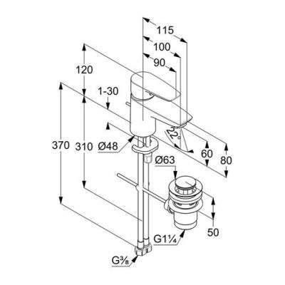 Wymiary techniczne armatury umywalkowej Kludi pure Solid 34 385 05 75-image_Kludi_343850575_3