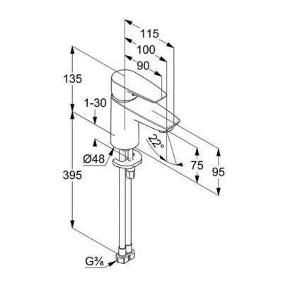 Rysunek techniczny baterii do umywalki z serii Pure Solid 34 028 05 75-image_Kludi_340280575_3