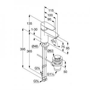 Rysunek techniczny baterii do umywalki Kludi Pure&Solid 342760575-image_Kludi_342760575_2