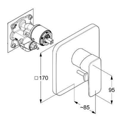 Rysunek techniczny baterii Kludi 40 650 05 75-image_Kludi_406500575_3