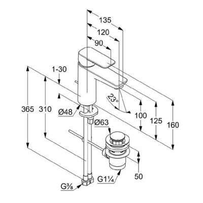 Wymiary techniczne baterii umywalkowej Pure&Style 402900575-image_Kludi_402900575_3