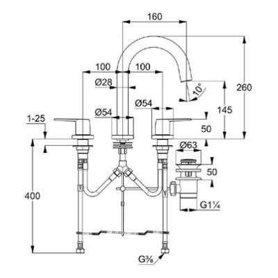 Wymiary techniczne baterii umywalkowej Pure Style 403930575-image_Kludi_403930575_3