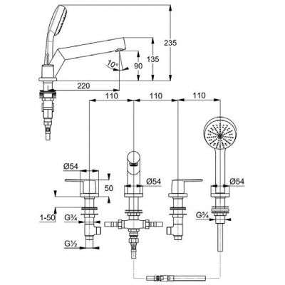 Rysunek baterii Pure Style wielootworowej 40 425 05 75-image_Kludi_404250575_3