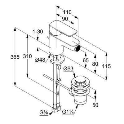 Rysunek techniczny baterii do bidetu 40 216 05 75-image_Kludi_402160575_3