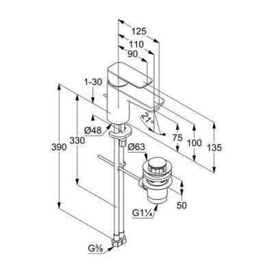 Wymiary techniczne baterii kludi Pure Style 40 382 05 75-image_Kludi_403820575_3