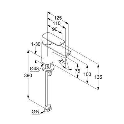 Wymiary techniczne baterii pure style 400280575-image_Kludi_400280575_3