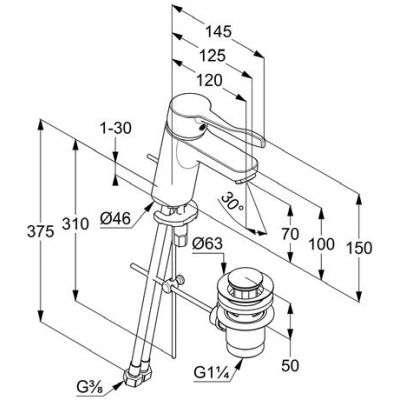 Wymiary techniczne umywalkowej baterii lekarskiej Kludi Pure Easy Care-image_Kludi_372840565_2