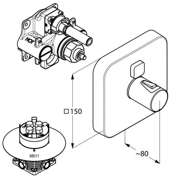 rysunek techniczny baterii Kludi Push 38 801 05 38-image_Kludi_388010538_3