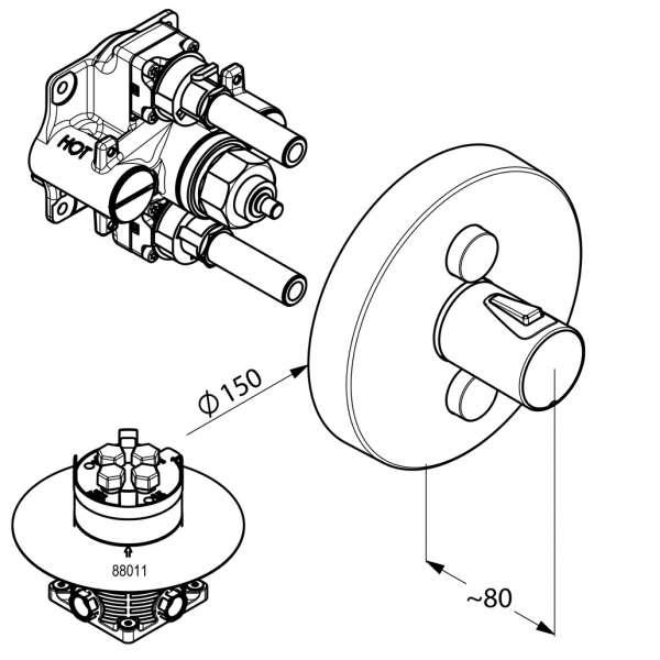 Rysunek techniczny baterii natryskowej Kludi Push 388120538-image_Kludi_388120538_2