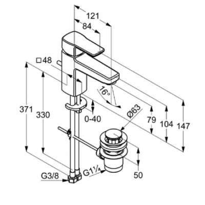 rysunek techniczny baterii umywalkowej Q-beo 50 023 05 65-image_Kludi_500230565_3